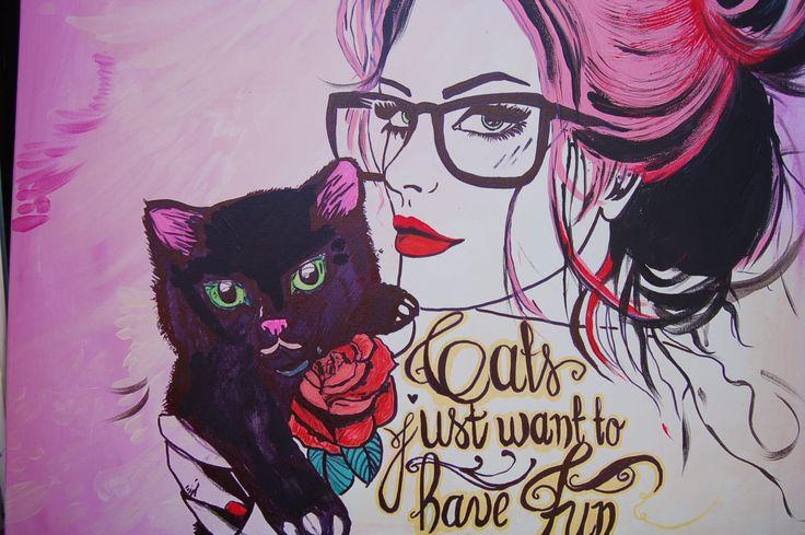Another stunning artwork from Dagmara Rybak: 'Cats just want to have fun' Acrylic on canvas; 50 cm x 70 cm; Portrait painting; 2014.  See more of Dagmara's art: http://www.studentartworks.org/author/dagmara-rybak/  www.studentartworks.org