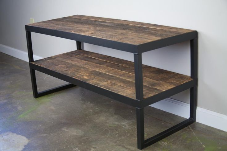 Custom Made Vintage Industrial Tv Stand. Reclaimed Wood & Steel Vintage Wood. Minimalist Urban Design Tv Console