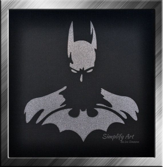 Batman Wall Art Super Hero Silhouette Wall Art by SimplifyArtbyLea