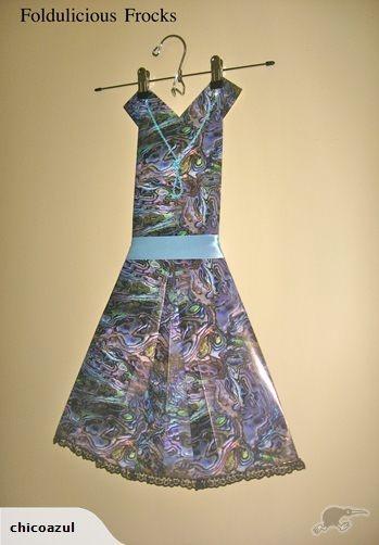 Folded Paper Dress Art - Foldulicious - Paua | Trade Me