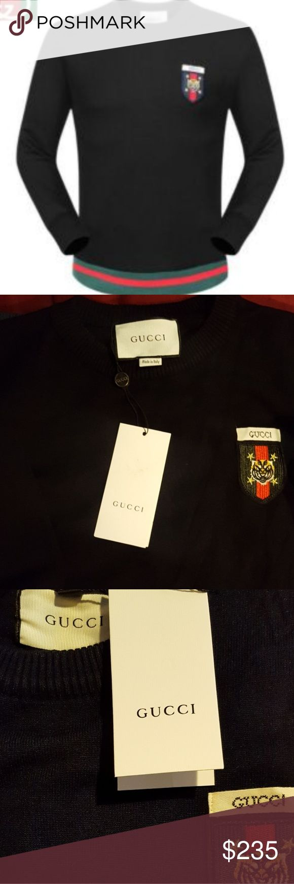 Gucci black Oxford sweater Gucci black sweater that features a luxuruous cotton material that highlights the emblematic insignia to this oxford edition sweater. Comes with tags and accessories Gucci Sweaters Crewneck