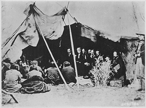 The Treaty of Fort Laramie (Sioux Treaty of 1868) was an agreement between the United States and the Oglala, Miniconjou, and Brulé bands of Lakota people, Yanktonai Dakota, and Arapaho Nation signed in 1868 at Fort Laramie in the Wyoming Territory, guaranteeing to the Lakota ownership of the Black Hills, and further land and hunting rights in South Dakota, Wyoming, and Montana. The Powder River Country was to be henceforth closed to all whites. The treaty ended Red Cloud's War.