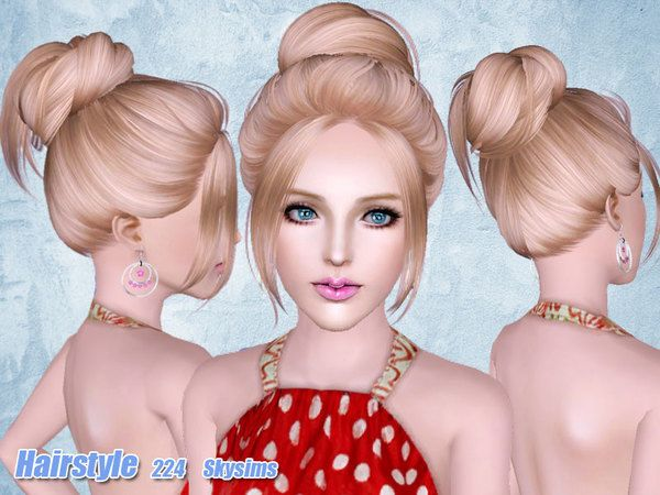 Casual bun hairstyle 224 by Skysims for Sims 3 - Sims Hairs - http://simshairs.com/casual-bun-hairstyle-224-by-skysims/