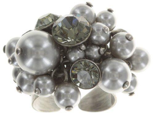 Ring Pearl Shadow grau Schwarzer Diamant