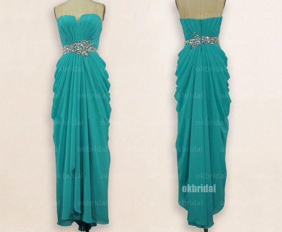 turquoise prom dress long prom dresses chiffon prom by okbridal, $179.00