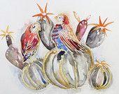 Cactus birds archival print illustration watercolour painting