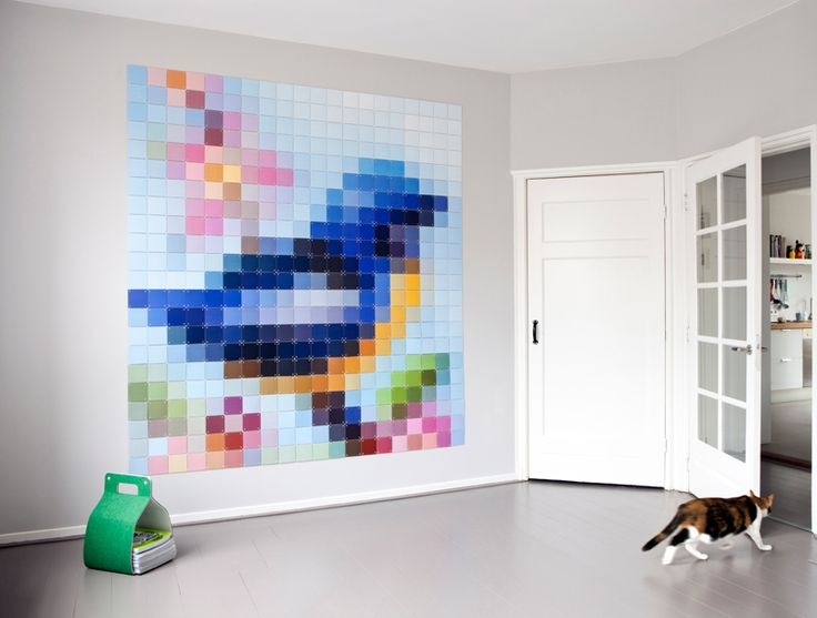 ixxi special: Patchwork Bird. Contemporary wall decoration with coloured pixel cards.    #wallart #pixel #interior $260.00