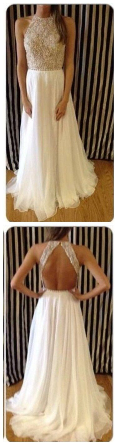 $169--2014 Crew Neck Backless Sleeveless Beadings Chiffon Prom Dresses ,Prom Dresses Backless Sleeveless Floor Length Chiffon A-line Beaded Lace Prom Gown