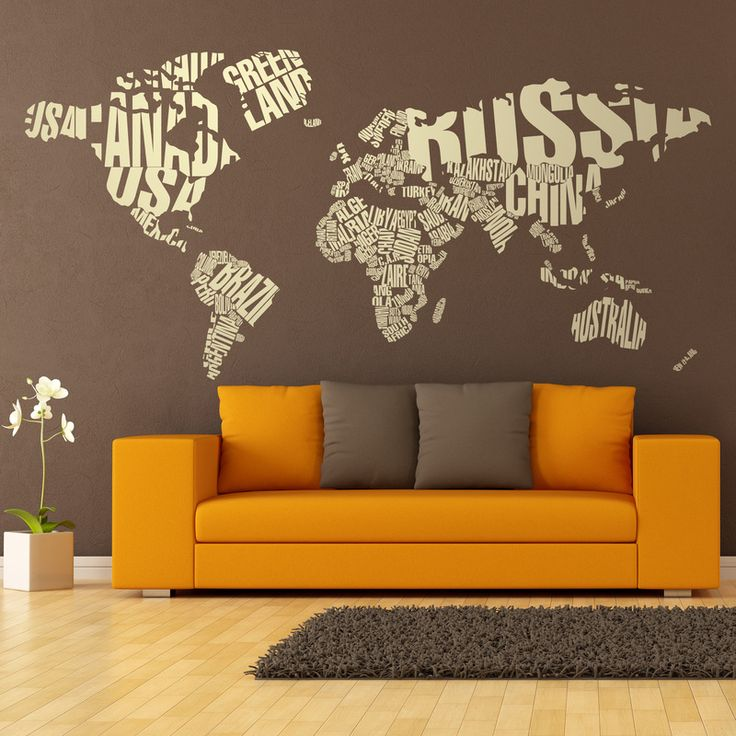 Vinilos Decorativos: Mapamundi tipográfico #decoracion #deco #fotomural #vinilo #mapa #mapamundi #pared #TeleAdhesivo
