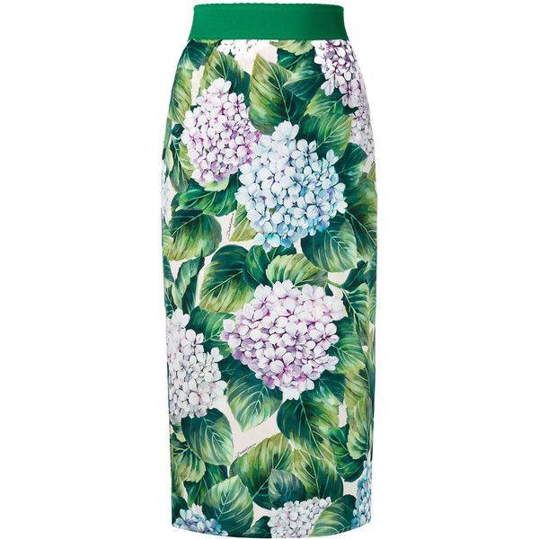 Dolce & Gabbana hydrangea print pencil skirt ($944) ❤ liked on Polyvore featuring skirts, green, green high waisted skirt, knee length pencil skirt, patterned pencil skirt, calf length pencil skirts and green skirt