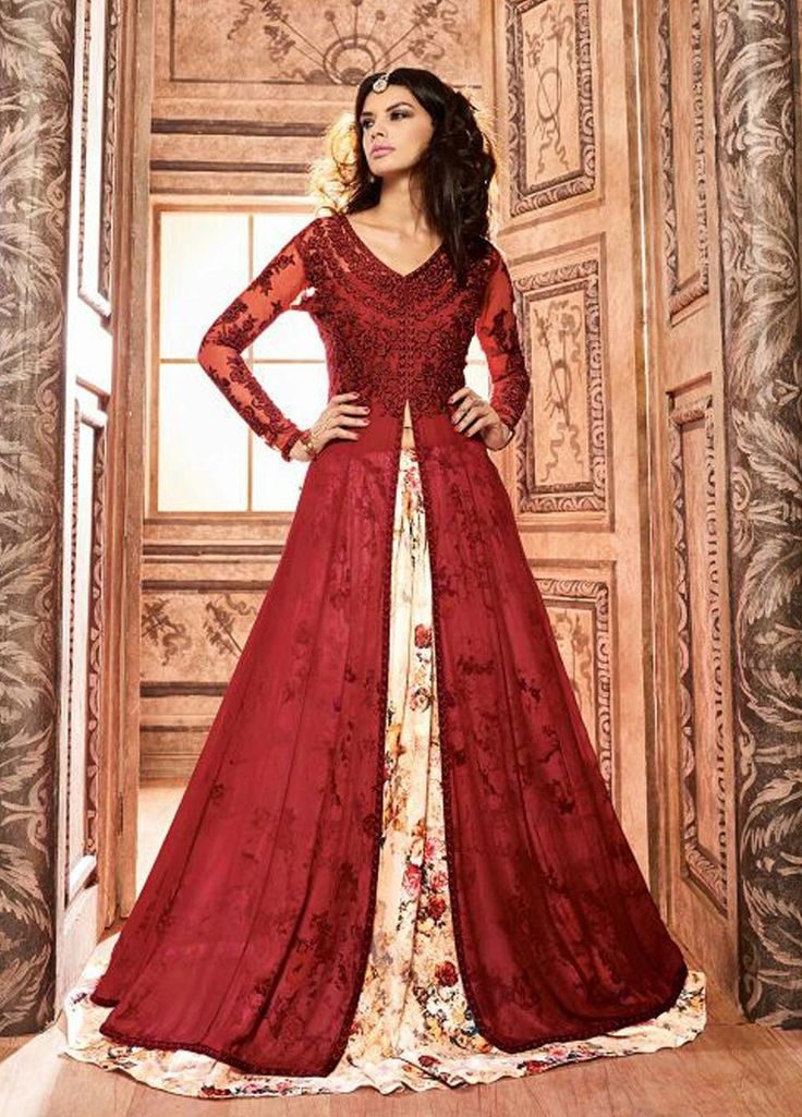 Red and White Floral Embroidered Lehenga