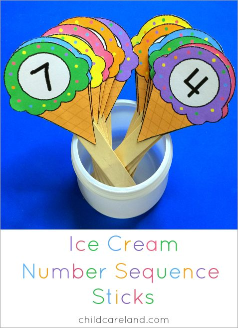 Ice cream number sequence sticks math center.