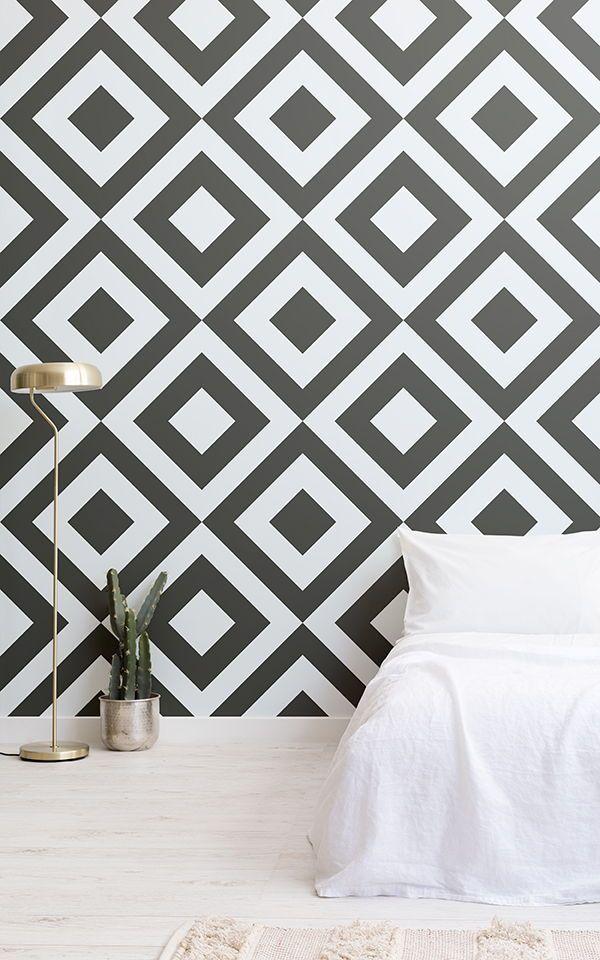 Papier peint Rocksand, Losanges en Noir et Blanc | Interiors ...