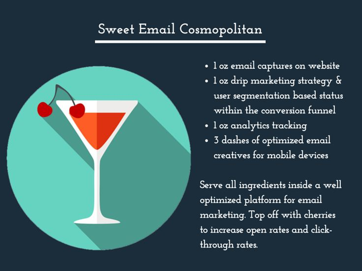 Sweet Email Cosmopolitan: Serve all ingredients inside a well optimized platform for email marketing. Top off with cherries to increase open rates and click-through rates.