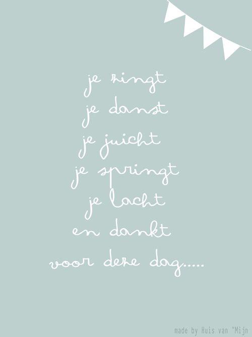 """Kaart, woorden, feest, danken, design made by Huis van """"Mijn"""""""