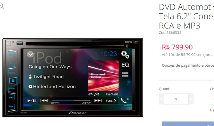 """DVD Automotivo Pioneer AVH-298BT Tela 62"""" Conexões Bluetooth USB RCA e MP3 << R$ 67910 >>"""