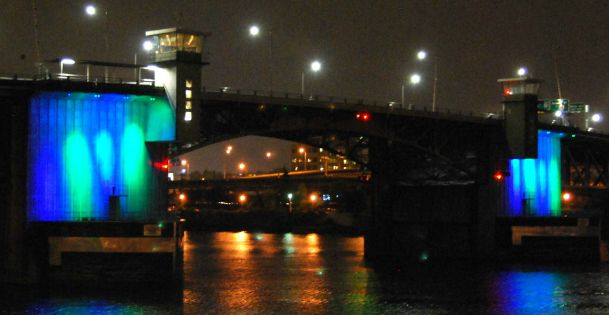 Image result for morrison bridge lights blue green donate life