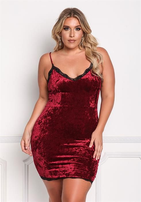 $32.95--BURGUNDY---Plus  Crushed Velvet Lace Trim Bodycon Dress