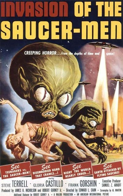 """""""I expected to be frightened on my wedding night, but nothing like this.""""— Joan. Invasion of the Saucer-Men, 1957. #scifi #vintage #bmovie"""