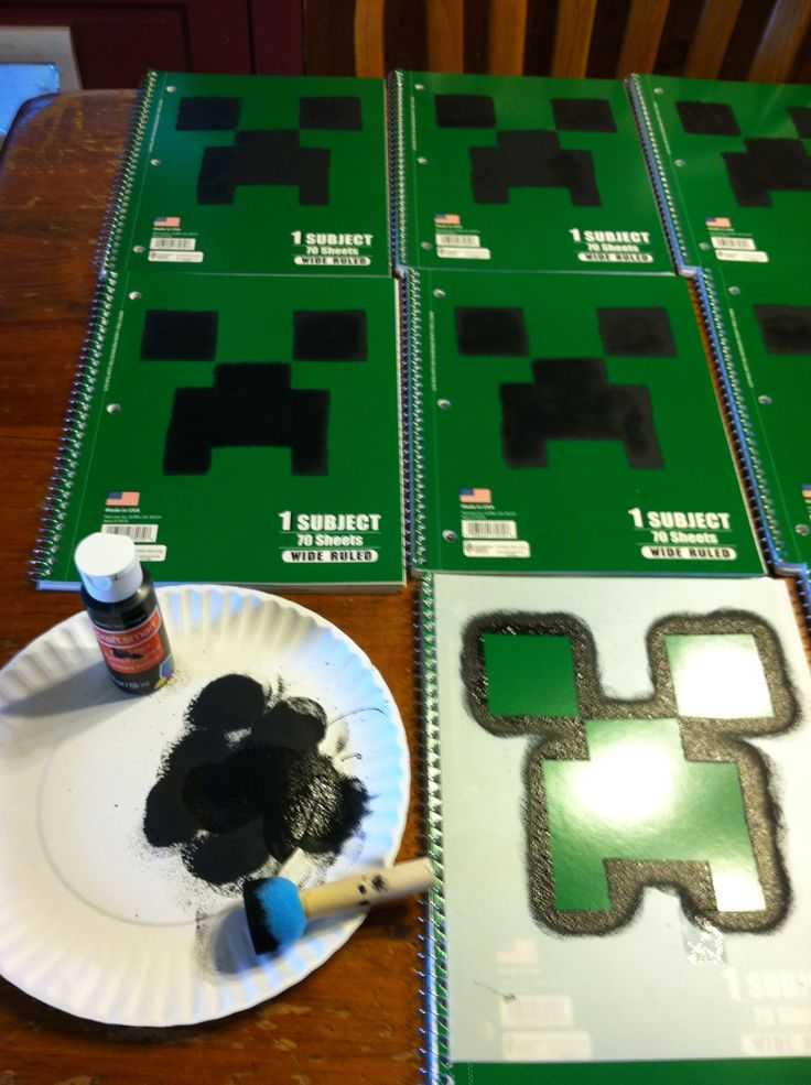Minecraft notebooks 17 cents notebooks from Walmart then make your own stencil. Easy and cheap party thank you gifts