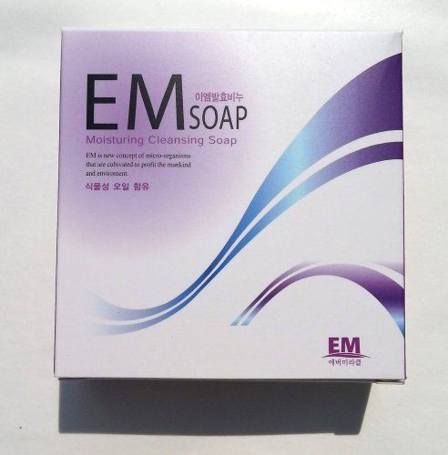 EM(Effective Micro-organisms) Moisturizing Soft Cleansing Facial Body Bar Soap / Alcohol, Fragrance, Chemical FREE. EM stands for Effective Micro-organisms (lactic acid bacteria, photosynthetic bacteria of complex microbial) It's founded by Dr. Teruo Higa. EM Moisturizing Soap made of only vegetable oils, helps to maintain healthy skin for sensitive skin and babies. EM Certification Mark - Dr. Teruo Higa developed EM technology and admitted this product as certified EM Product. If there…
