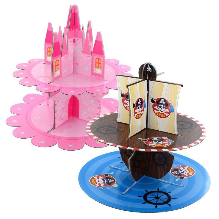 New 2 Tier Cardboard Cupcake Stand Muffin Bun Birthday Wedding Party Decoration