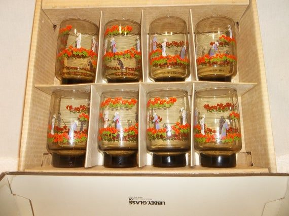 Vintage Libbey Set of 8 Asian Inspired Orange Poppy Farmers Smokey Brown Glasses D Cheviot Swanky Swigs Hostess Glassware