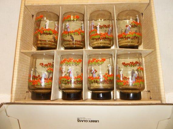 Vintage Libbey Set of 8 Asian Inspired Orange Poppy Farmers Smokey Brown Glasses D Cheviot Swanky Swigs Hostess Glassware