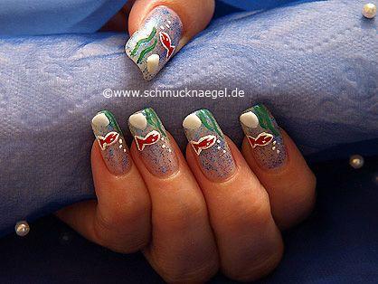 Nail art motivo 225 - Motivo acuario para decoración de uñas - http://www.schmucknaegel.de/