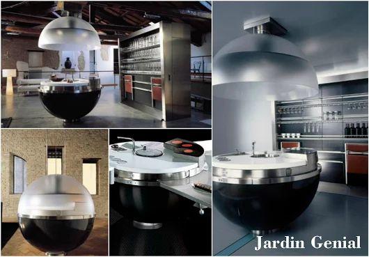 Минималистская компактная кухня «Sheer»  Кухня «Sheer» представляет  из себя сферический кухонный  гарнитур, диаметром всего-навсего  148 см. Она идеально подойдет для тех, кто хочет сэкономить  место, но при этом получить интересный и концептуальный  дизайн кухни.   Большая часть кухни выполнена  из прочного углеродного волокна  (карбон), чтобы можно было  достаточно легко её транспортировать.   Столешница изготовлена из  кориана (Corian®), а отдельные  элементы из нержавеющей стали.