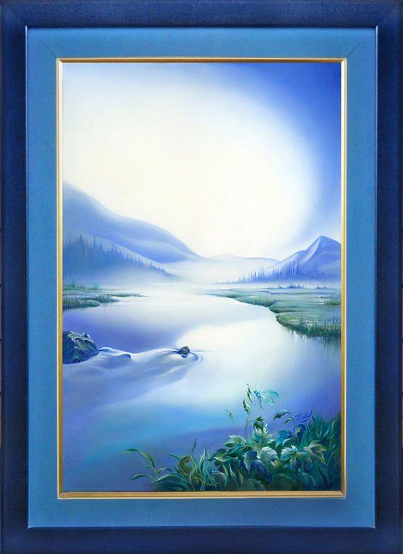 """The Silence""  -  framed oil paintingsilence landscape sky light mountains river water dragonfly"