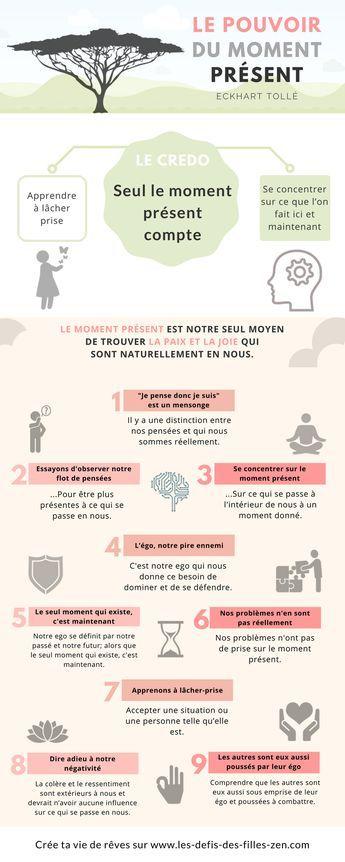Infographie : le pouvoir du moment présent de Eckhart Tollé en 9 leçons pratiques, simples et essentielles, pour apprendre à mieux vivre au présent.