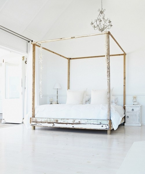 white with rustic bed: Decor, Interior, Beds, Dream, Bed Frame, Bedrooms, White Bedroom