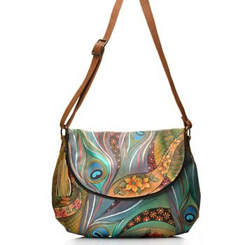 Anuschka Hand-Painted Leather Large Convertible Bag w /Matching Wallet