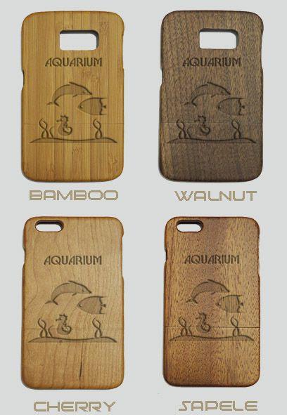 Aquarium Engraved Wood Phone Case