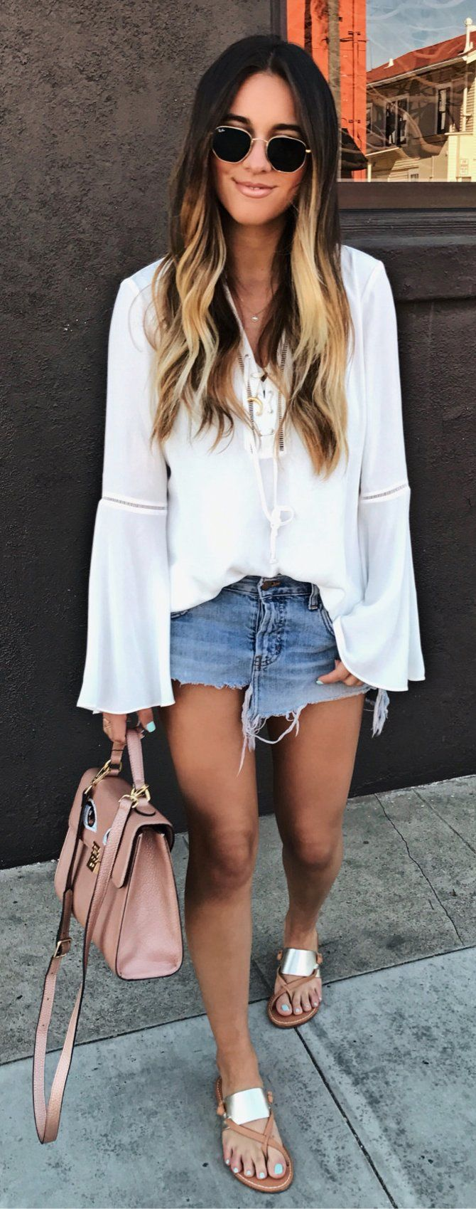 White Blouse & Denim Skirt & Pink Leather Tote Bag