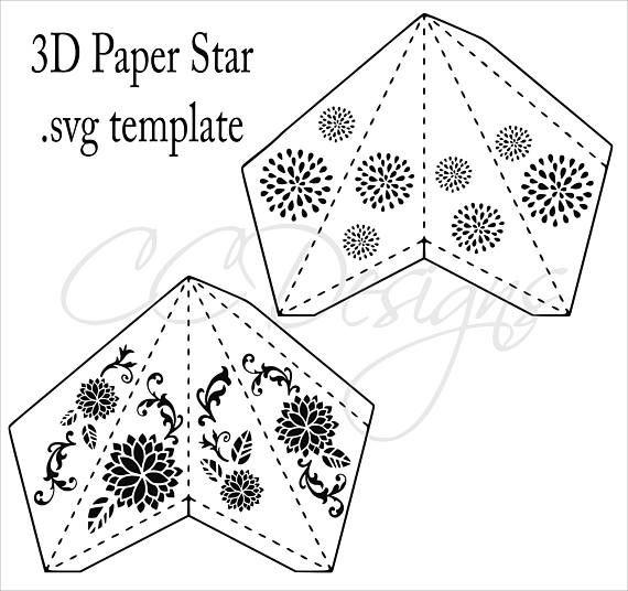 Paper Star Lantern SVG Cut Files, DIY 3D Paper Stars