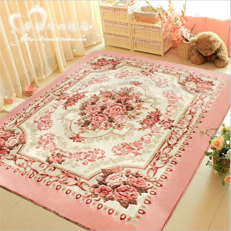 Pink Rose Rug For Living Room Elegant American Country Style Carpet Bedroom Branded And Mat Find This Pin More On Washable Area Rugs