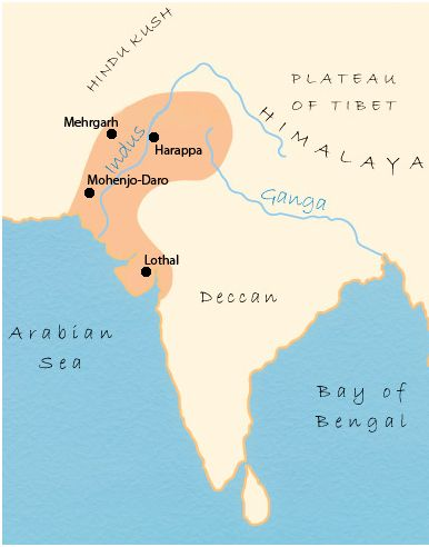 this shows the locations of the different cities in the indus river valley civilizations