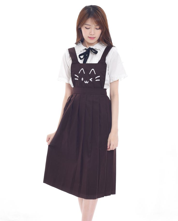 $23. Shop cute cat face embroidery brown kawaii pinafore dress. Jual dress atau rok overall dungaree kawaii bordir wajah kucing lucu. Indonesia, ship wordwide! #pinafore #dungaree #overalls #cat #neko #dress #harajuku #asian #fashion #style #look