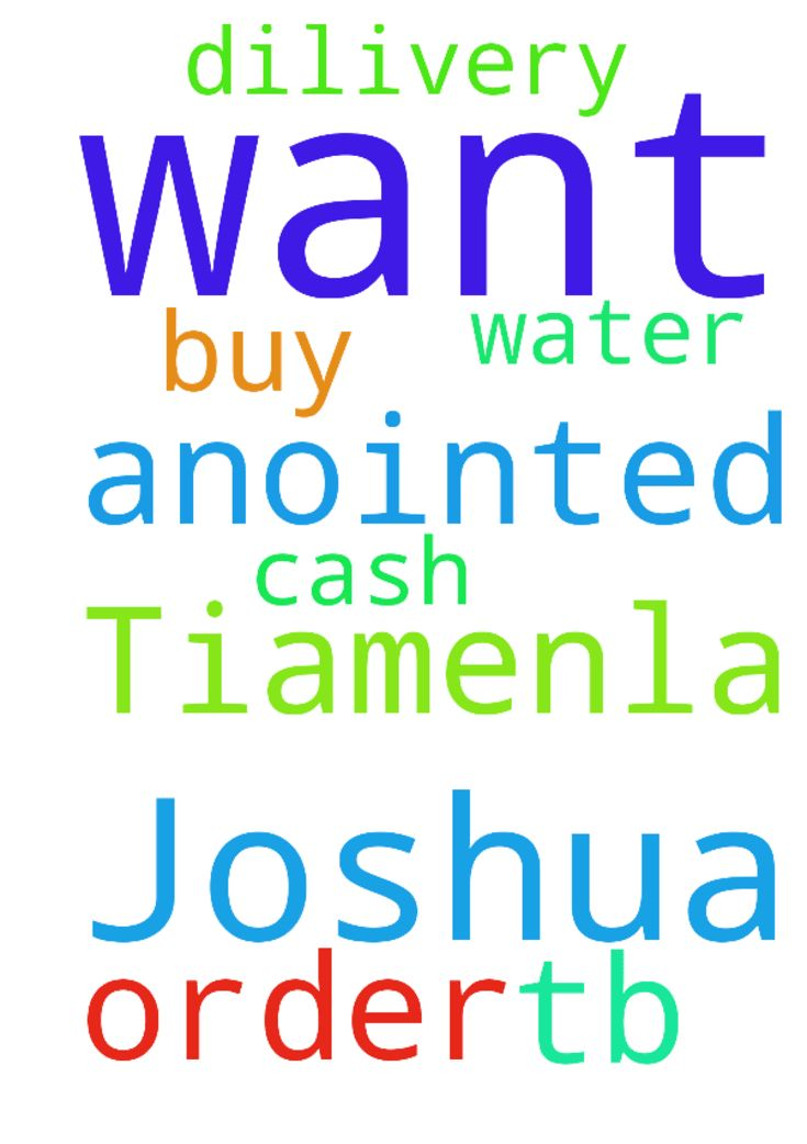 My name is Tiamenla and I want to order TB Joshua anointed - My name is Tiamenla and I want to order TB Joshua anointed water, please help. I want to buy cash on dilivery. please help Posted at: https://prayerrequest.com/t/S10 #pray #prayer #request #prayerrequest