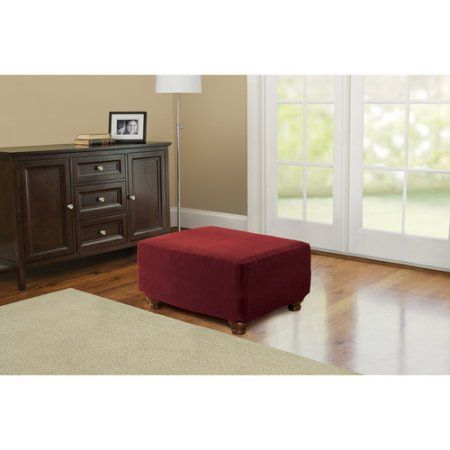 Better Homes and Gardens One-Piece Stretch Fine Corduroy Ottoman Slipcover, Red
