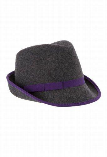 Women's fedora hat with pretty purple band