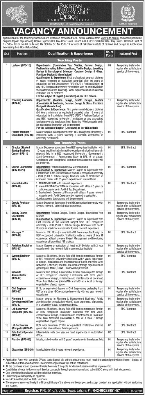 Pakistan Institute Of Fashion And Design Jobs 2017 In Lahore For Data Entry Operators, Lecturers And Engineers http://www.jobsfanda.com/pakistan-institute-of-fashion-and-design-jobs-2017-in-lahore-for-data-entry-operators-lecturers-and-engineers/