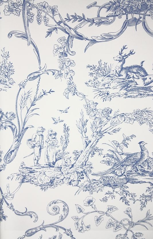 Paysannerie Toile Wallpaper A scenic toile wallpaper with farm workers, pheasants, stags and dogs amongst swirling foliage in blue on white.