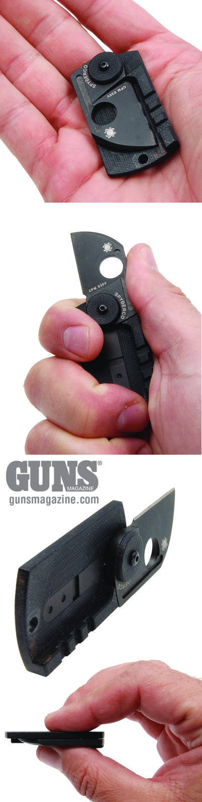 Exclusive: Photos of a Spyderco Dog Tag Folder | By Mark Kakkuri | This one's been riding around on my keychain for almost a year. Typical duties are opening mail, opening packages, and cutting stray strings off clothes. At less than an ounce in weight, it actually could be worn like a dog tag and therefore easily hidden. | © GUNS Magazine 2016