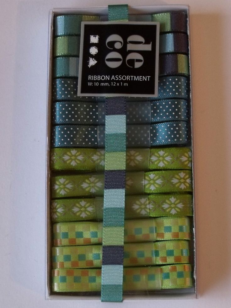 WOODWARE RIBBON COLLECTION - BLUES AND GREENS -      Box of blues and greens coloured ribbons with 12 m of ribbon in 1m lengths. 3 of each of the 4 designs.