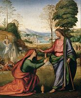 """Fra Bartolomeo ~ Noli me tangere ~ (""""touch me not"""" or """"don't tread on me"""") ~  His last work is fresco of Noli me tangere in Pian di Mugnone before his death in Florence in 1517."""