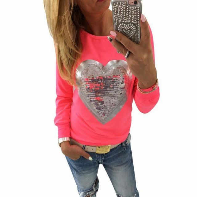 Women Sequined Pullovers Sweatershirt O-neck Long Sleeve Autumn shirt Heart Shaped S-XL