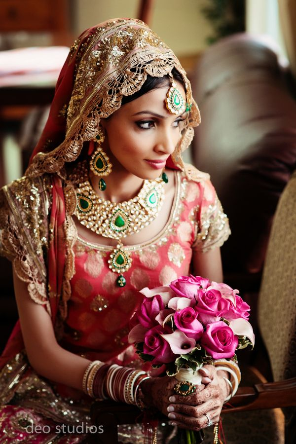 Indian Bride - tagged: #Indian bride wearing a beautiful #saris & a #dupatta on her head